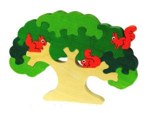 Puzzle arbre et écureuil en couleur